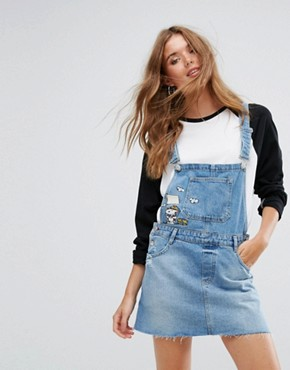 photo Snoopy Dungaree Dress by Pull&Bear, color Blue - Image 1
