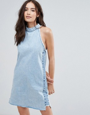 photo Denim Dress with Choker Detail by Pull&Bear, color Med Blue - Image 1