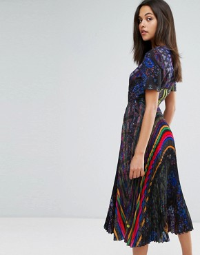 photo Midi Dress in Allover Print with Pleated Skirt by Skeena S, color Multi - Image 2