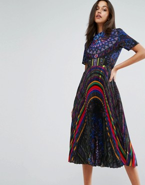 photo Midi Dress in Allover Print with Pleated Skirt by Skeena S, color Multi - Image 1