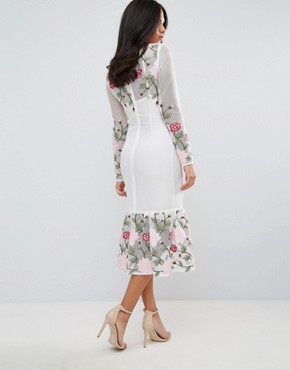 photo Long Sleeve Floral Placement Dress with Peplum by Forever Unique, color White - Image 2