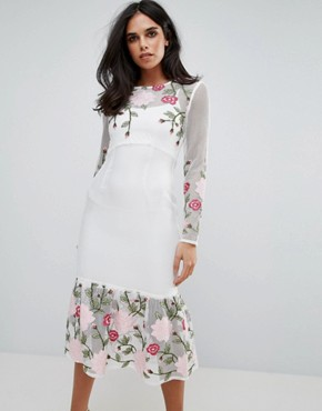 photo Long Sleeve Floral Placement Dress with Peplum by Forever Unique, color White - Image 1
