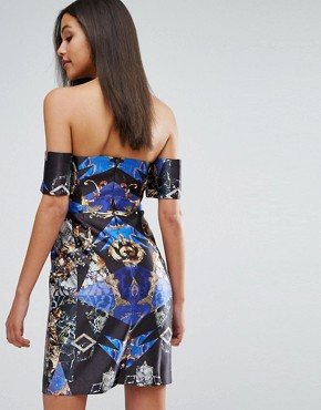 photo Structured Bardot Mini Dress in Allover Print by Skeena S, color Multi - Image 2