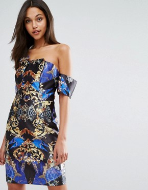photo Structured Bardot Mini Dress in Allover Print by Skeena S, color Multi - Image 1