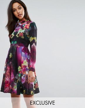 photo Chiffon Tea Dress in Floral with Pussy Bow by Skeena S, color Multi - Image 1