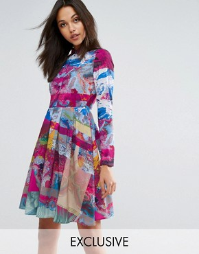 photo Collared Tea Dress in Multi Print by Skeena S, color Multi - Image 1