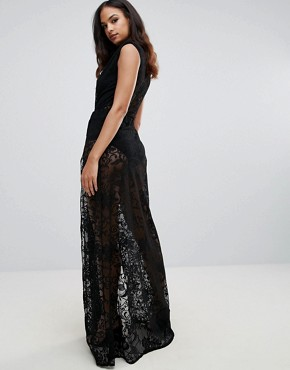 photo Lace Maxi Dress with Plunge Front by Forever Unique, color Black - Image 2