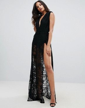 photo Lace Maxi Dress with Plunge Front by Forever Unique, color Black - Image 1