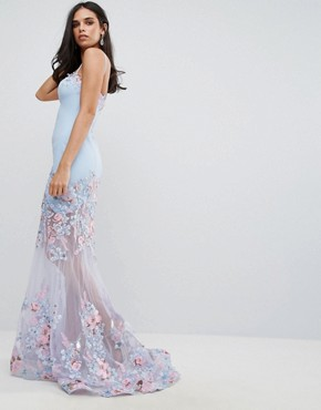 photo Floral Sweetheart Maxi Dress by Forever Unique, color Blue - Image 1