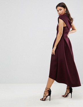 photo One Shoulder Foam Scuba Dip Back Midi Skater Dress by ASOS, color Aubergine - Image 2