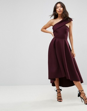 photo One Shoulder Foam Scuba Dip Back Midi Skater Dress by ASOS, color Aubergine - Image 4
