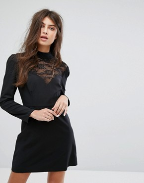 photo Long Sleeve Dress with High Neck in Lace by Fashion Union, color Black - Image 1