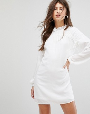 photo Long Sleeve Smock Dress with Ribbon Tie Gathers by Fashion Union, color White - Image 1
