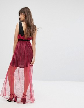 photo Maxi Dress with Sheer Metallic Spot Mesh Layer by Fashion Union, color Hot Pink - Image 2