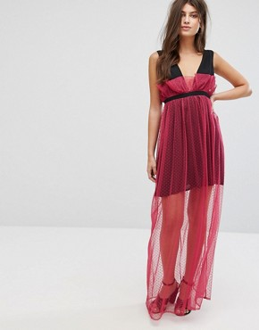 photo Maxi Dress with Sheer Metallic Spot Mesh Layer by Fashion Union, color Hot Pink - Image 1