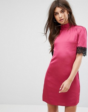photo High Neck Fitted Dress with Lace Trim in Satin by Fashion Union, color Pink - Image 1