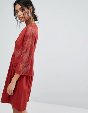 photo Lace Insert Dress by Gestuz, color Red - Image 1