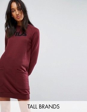 photo Oversized Jumper Dress with Logo and Pocket Detail by Fila Tall, color Berry - Image 1