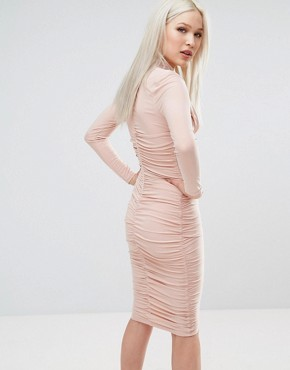 photo Long Sleeve Slinky Dress by AX Paris, color Champagne - Image 2
