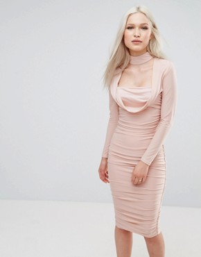 photo Long Sleeve Slinky Dress by AX Paris, color Champagne - Image 1