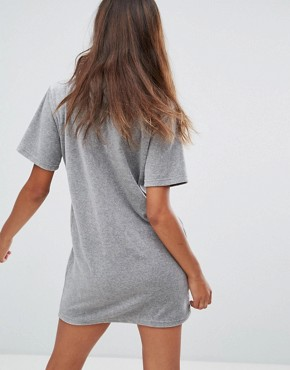 photo Velour T-Shirt Dress with Contrast Logo Detail by Fila Petite, color Grey - Image 2
