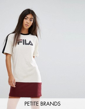 photo Colour Block Tshirt Dress with Logo Detail by Fila Petite, color Multi - Image 1