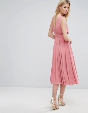 photo Bow Front Midi Dress by ASOS TALL WEDDING, color Vintage Rose - Image 2