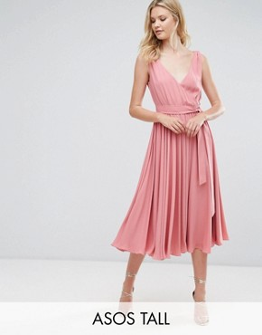 photo Bow Front Midi Dress by ASOS TALL WEDDING, color Vintage Rose - Image 1