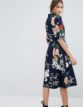 photo Floral Shirt Dress with Button Detail by Uttam Boutique, color Navy - Image 2