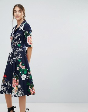 photo Floral Shirt Dress with Button Detail by Uttam Boutique, color Navy - Image 1