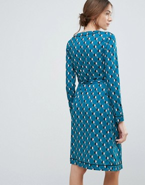 photo Geometric Daisy Print Wrap Dress by Uttam Boutique, color Teal - Image 2