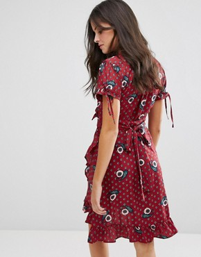 photo Paisley Print Frill Wrap Dress by Uttam Boutique, color Burgundy - Image 2