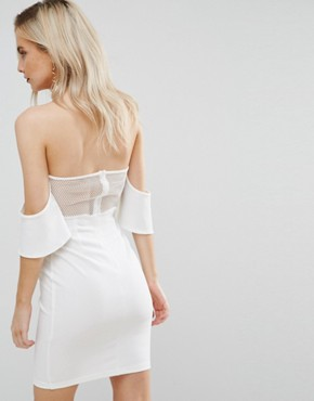 photo Off Shoulder Corset Detail Mini Dress by NaaNaa Petite, color White - Image 2