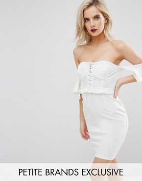 photo Off Shoulder Corset Detail Mini Dress by NaaNaa Petite, color White - Image 1