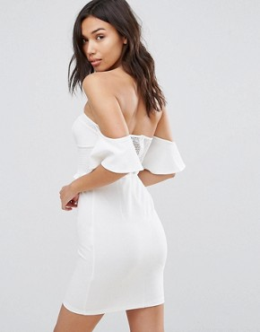 photo Off Shoulder Corset Detail Mini Dress by NaaNaa, color White - Image 2