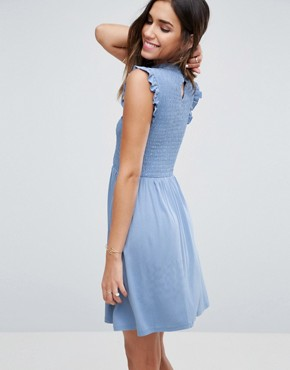 photo Mini Skater Dress with Shirring Panel by ASOS, color Duck Egg Blue - Image 2
