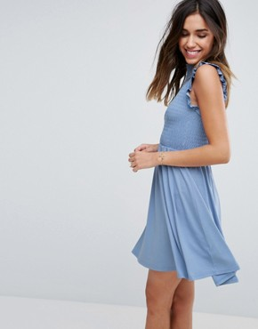photo Mini Skater Dress with Shirring Panel by ASOS, color Duck Egg Blue - Image 1