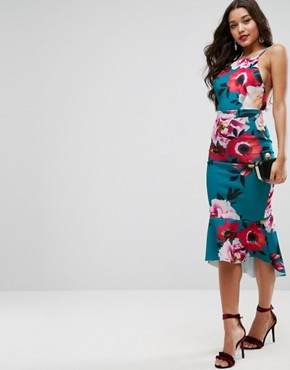 photo Floral Pinny Midi Dress with Pephem by ASOS, color Multi - Image 1