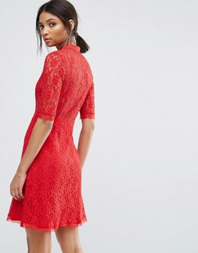 photo Skater Dress with Lace Top by City Goddess, color Red - Image 2