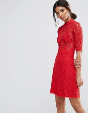 photo Skater Dress with Lace Top by City Goddess, color Red - Image 1