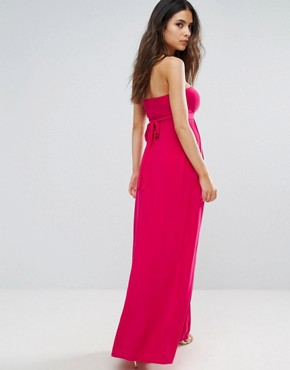 photo Bandeau Maxi Dress with Cut Out Detail by City Goddess, color Cerise - Image 2