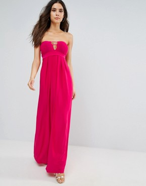 photo Bandeau Maxi Dress with Cut Out Detail by City Goddess, color Cerise - Image 1