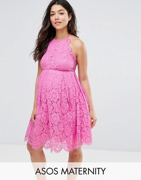 photo Lace Scallop Mini Prom Dress by ASOS Maternity, color Pink - Image 1