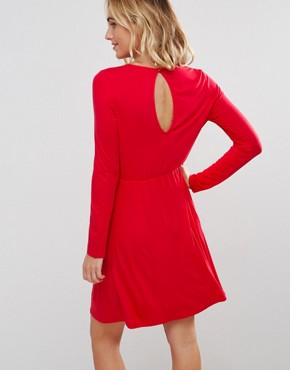 photo Mini Swing Dress with Long Sleeves and Seam Detail by ASOS Maternity, color Red - Image 2