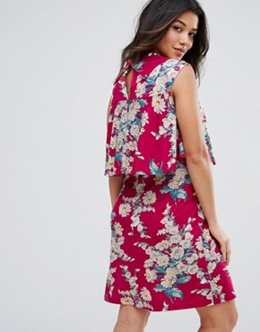photo Floral Print Frill Double Layer Dress by ASOS Maternity NURSING, color Red - Image 2