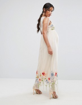 photo Embroidery Mesh Maxi Dress by ASOS Maternity TALL, color Nude - Image 2