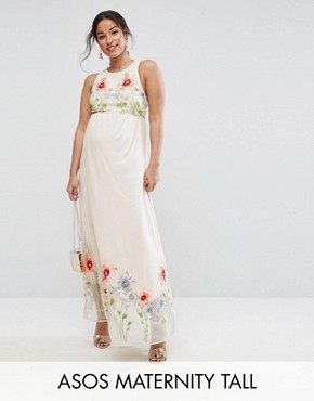 photo Embroidery Mesh Maxi Dress by ASOS Maternity TALL, color Nude - Image 1