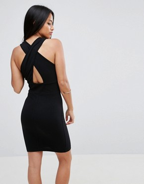 photo Wrap Front Halter Mini Bodycon Dress by ASOS PETITE, color Black - Image 2