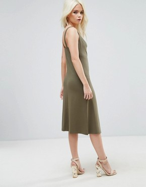 photo Midi Cowl Front Swing Dress by ASOS PETITE, color Khaki - Image 2