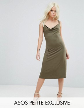 photo Midi Cowl Front Swing Dress by ASOS PETITE, color Khaki - Image 1